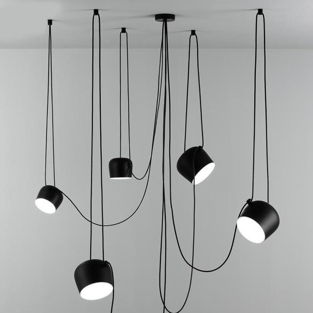 Nordic Personality DIY Spider Pendant Lamp White or Black Drum Shade Pendant Light Modern Adjustable Hanging Drum Light Fixture