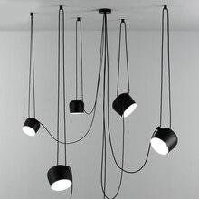 Nordic osobowość DIY pająk lampa wisząca biały lub czarny bęben klosz lampa wisząca nowoczesny regulowany wiszący bęben oprawa oświetleniowa