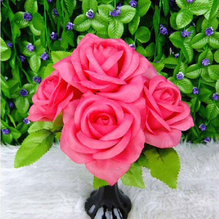 New Artificial Rose Flower Buds Bunch 5 Flowers Artificial Flowers ...