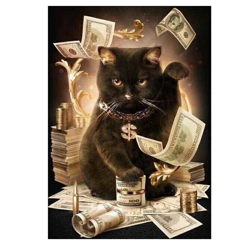 Costura 5D Diamante Pintura grandes ojos de gato dibujo puntada bordado de mosaico