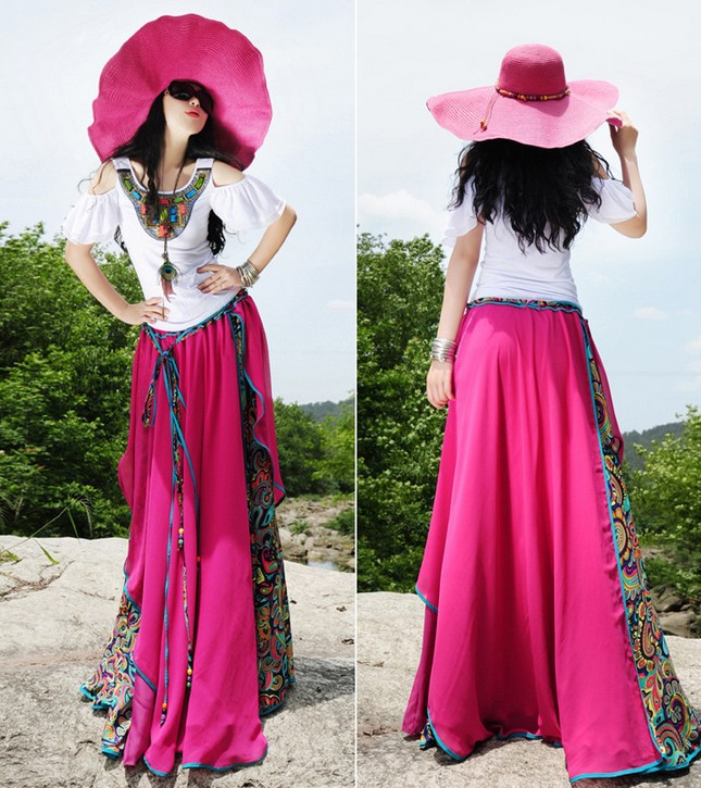 Летняя новая длинная юбка в пол женская шифоновая плиссированная юбка цветочные юбки