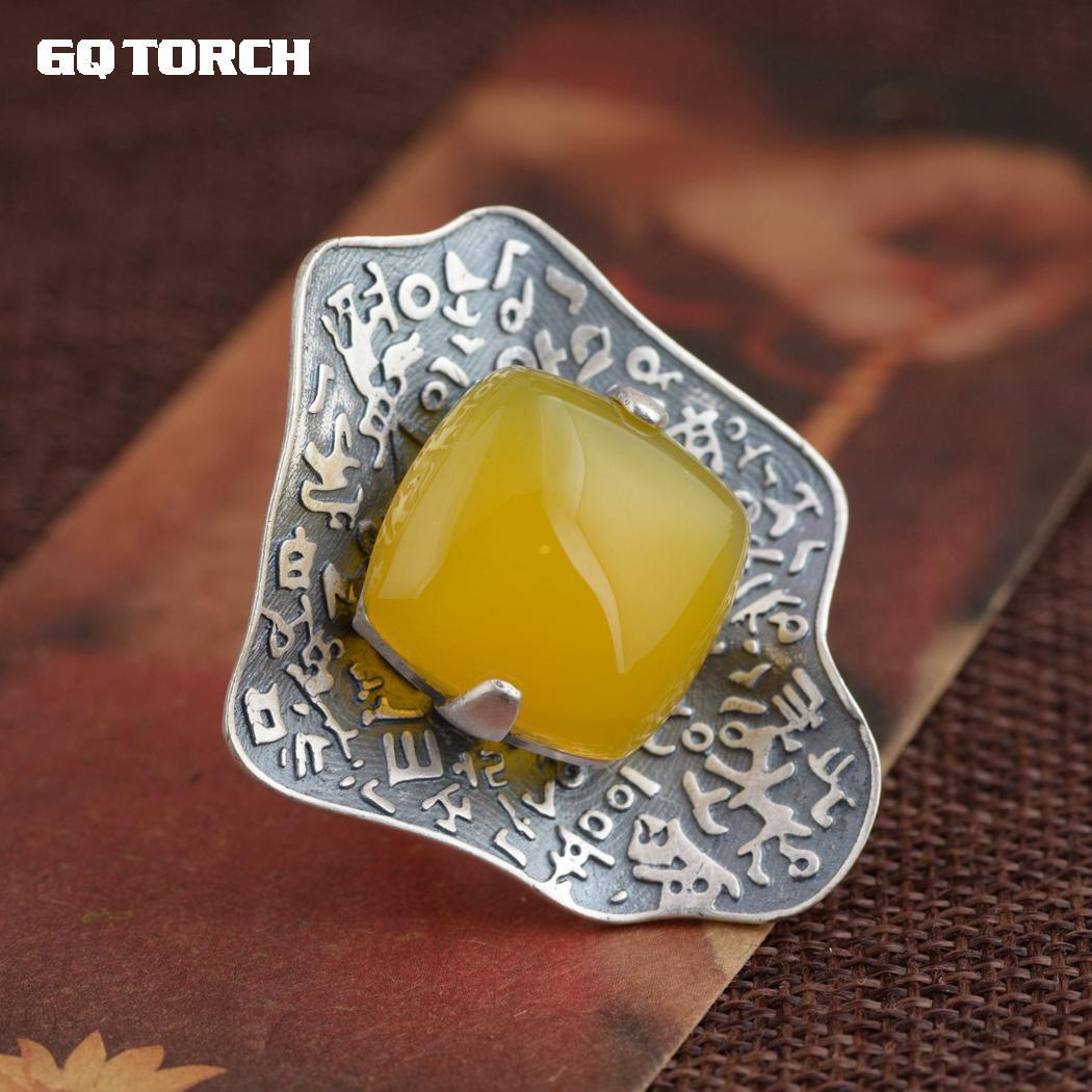 Gqtorche 925 Sterling Silvr exagéré grands anneaux pour les femmes pierres précieuses naturelles calcédoine jaune incrusté 990 Thai argent feuille de Lotus