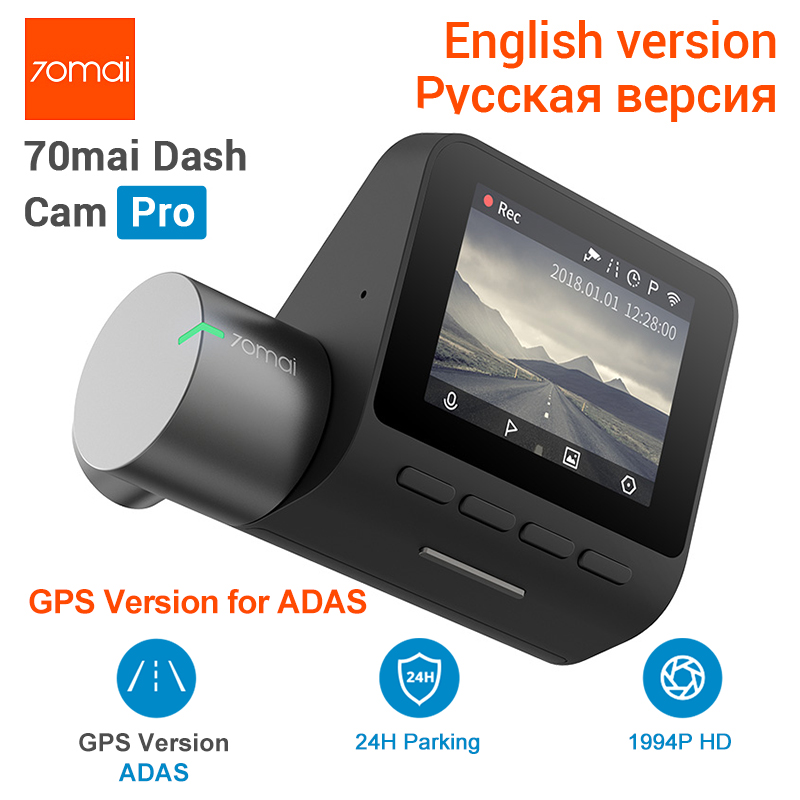 New 70mai Pro 70mai Dash Cam Pro 1944P GPS 70mai Car Cam Pro English Voice Control 24H Parking Monitor 140FOV Night Vision Wifi