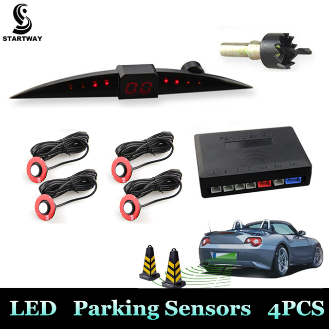 New Design Car LED Parking Sensor Kit Monitor Auto Reverse Backup Radar System Detector 13mm/22mm Sensor Backlight Display