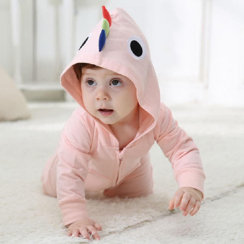 Androktones 2018 Spring Newborn Infant Baby Clothes Pure Cotton Pink Romper Hooded Jumpsuit Parrot Onesie Cosplay Girlss Costume