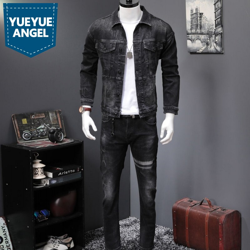 Classic Black Denim Sets Men High Quality Slim Jacket Coats And Straight Jeans Two Piece Sets New Autumn Fashion Streetwear