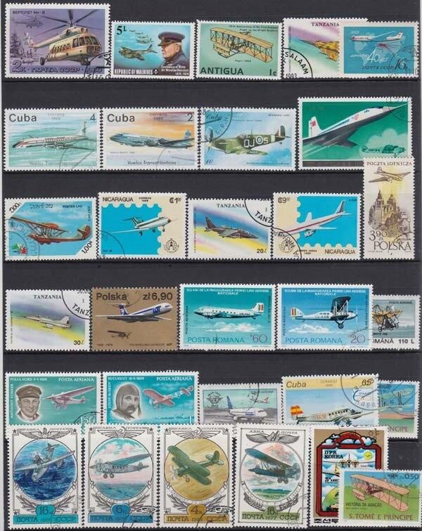 Самолет реактивный, 100 шт./лот без повтора, неиспользованные почтовые марки с почтовым знаком из мира для сбора