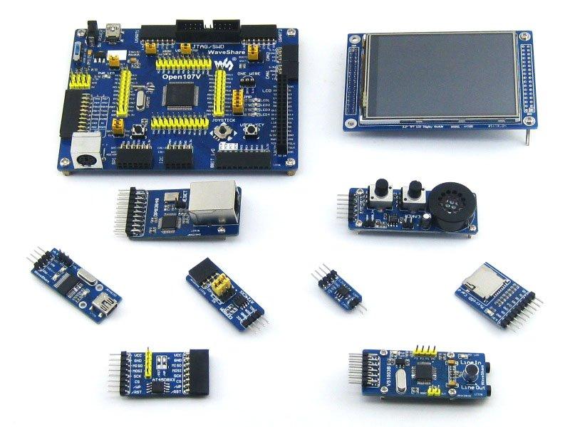 Modules STM32 Board STM32F107VCT6 STM32F107 ARM Cortex-M3 STM32 Development Board + 8pcs Accessory Modules=Open107V Package B xilinx fpga development board xilinx spartan 3e xc3s250e evaluation board kit lcd1602 lcd12864 12 modules open3s250e package b