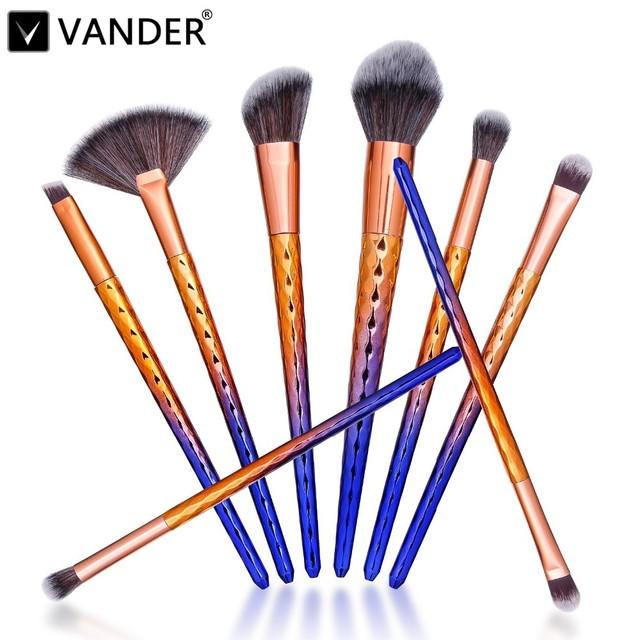 VANDER 8 Pcs unicórnio Cor Pincéis de Maquiagem Profissional Definida Ferramentas de Beleza Cosméticos Sombra Em Pó Lip Pincéis Kabuki Escova Kits