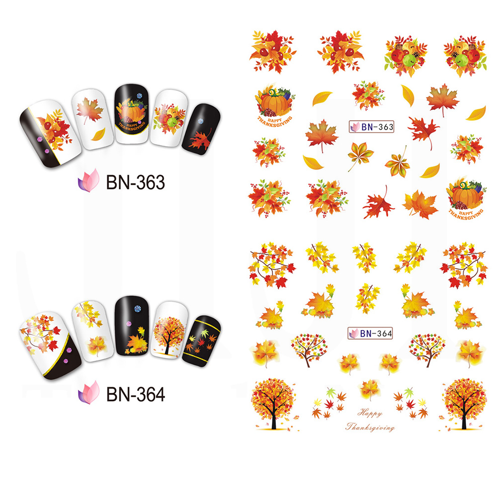 Image 2 - 12 Designs Fall Leaves Nail Sticker Water Transfer Nail Art Decal Autumb Yellow Maple Leaf Turkey Nails Decorations JIBN361 372-in Stickers & Decals from Beauty & Health