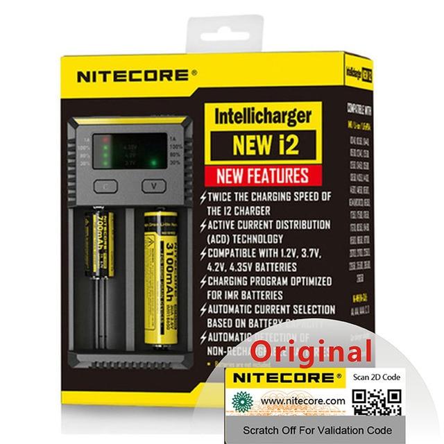 Ban đầu Nitecore Mới i2 Intelli Sạc Pin Phổ Sạc Nhanh cho AA AAA Li Ion 26650 18650 14500 Pin Sạc
