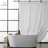 Aimjerry Waterproof Polyester Fabric Bathroom White Shower Curtain Eco Friendly London Curtains 71 71 Inch 12
