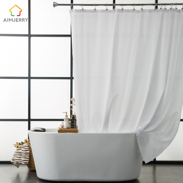 Aimjerry Waterproof Polyester Fabric Bathroom White Shower Curtain ...