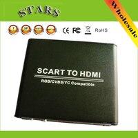 720 P 1080 P scart cvbs/RGB/YC к HDMI HD видео до скейлер конвертер с Адаптеры питания для HDTV DVD STB, оптовая продажа, Бесплатная доставка