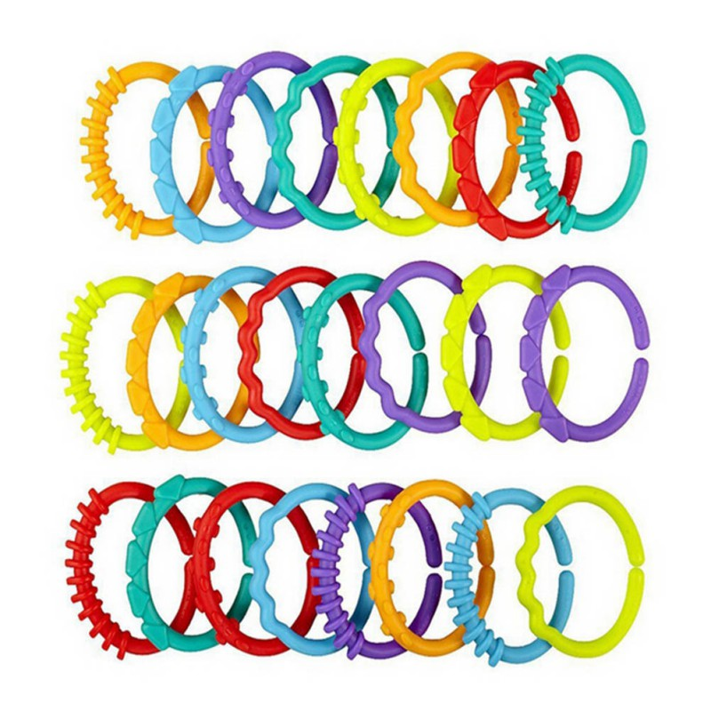 24pcs/set Baby Toys Rainbow Children Ring Plush Ring Clutch Chain Ring Ring Gifts New Year Gifts For  0-12 M