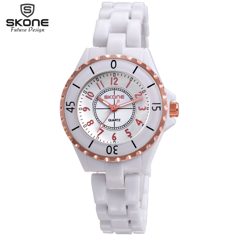 SKONE Original Brand Luminous Hand Fashion Watches Women Rose Gold Bezel White Ceramic Analog Quartz Watch Ladies reloj mujer skone 5051 luminous pointers quartz watch men rotatable bezel wristwatch