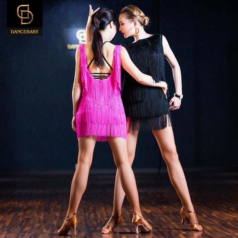 Picture of 2016 Woman New Professional Black/Pink  Fringed Latin Dance Skirt Tassel Elastic Dress Rumba/Samba Dance Practice Dress