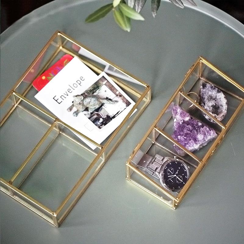 Tre Griglie Golden Rim Contenitore di Scatola di Immagazzinaggio Cosmetici Gioielli Scatola di Immagazzinaggio di Vetro Di Lusso Moderno Decor Organizzatore per la Casa
