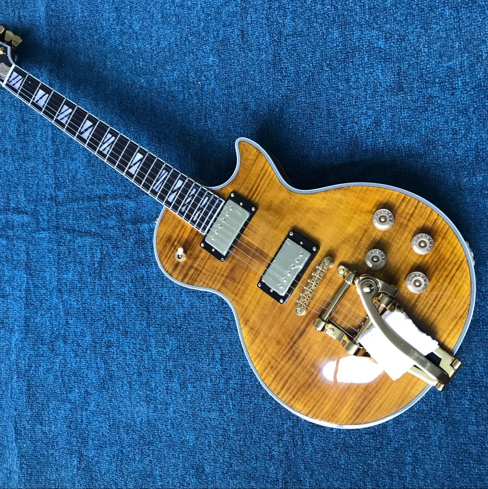 Free shipping Custom paul Black 2 pickups Golden Hardware LP electric guitar with bigsby ...