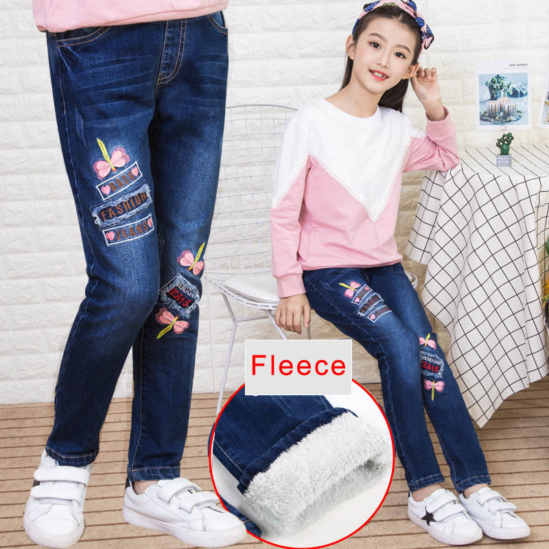 все цены на Teenage Girls Denim Jeans 2018 Autumn Winter Kids Cotton Elastic Pants Leggings Fleece Thicken Warm Embroidered Jeans 3-12 Years