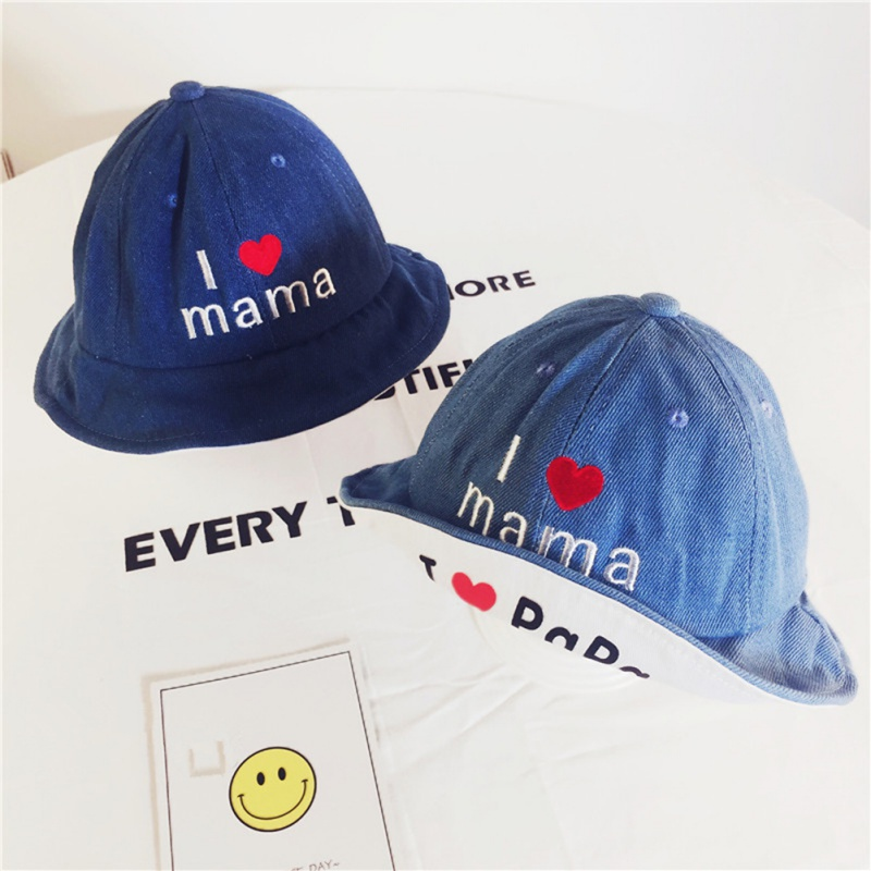Baby Hat 2018 Autumn New Children Caps English Letters Denim Fisherman Hat Love Sunshade Cap Style 2-4Y T54