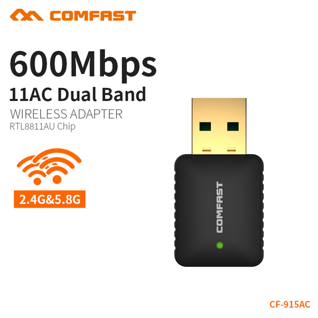 COMFAST AC 600Mbps Wifi Adapter Antenna Usb 5ghz Wifi Card 2.4Ghz PC Network Adapter Windows XP 7 8 10 Mac OS Support CF-915AC