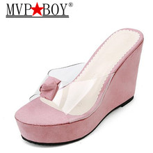 Mvp Boy Wedges heel slippes women 2018 summer new sexy crystal transparent high heels diamond slides slippers Banquet shoe