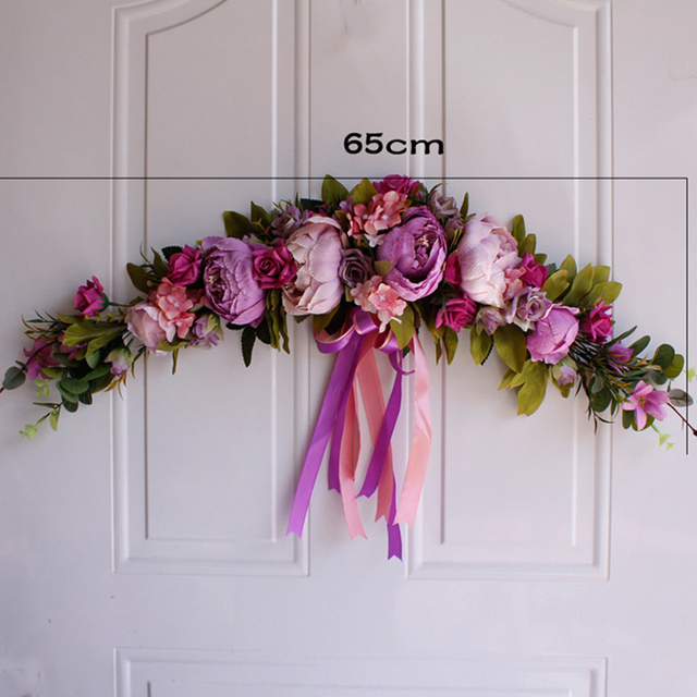 Rose Peony Artificial Flowers Garland European Lintel Wall Decorative Flower Door Wreath For Wedding Home Christmas Decoration 2