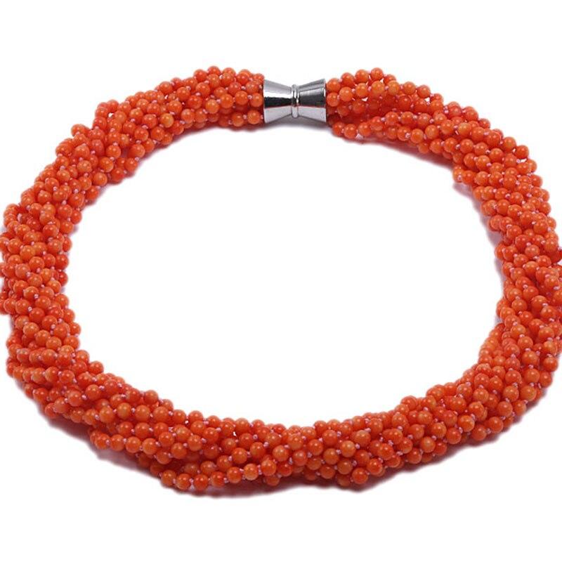 JYX غرامة المرجان قلادة الساحرة متعددة حبلا الطبيعي 5.5 ملليمتر تسعة ستراند البرتقال جولة المرجان قلادة-في قلادات من الإكسسوارات والجواهر على  مجموعة 1