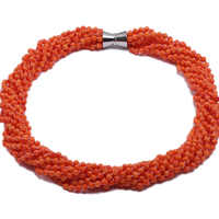 JYX Fine Coral Necklace Charming Multi-Strand natural 5.5mm Nine-Strand Orange Round Coral Necklace