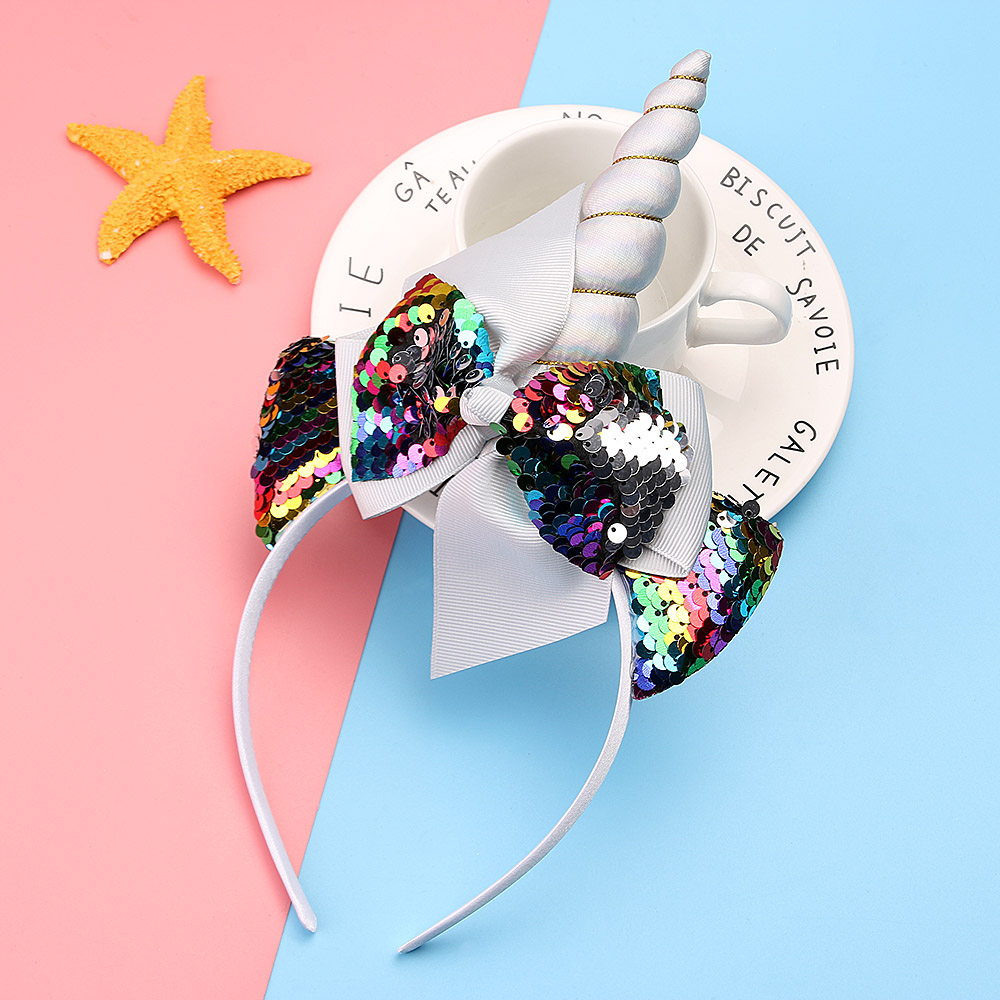 Children Girls Tiara Sequin Unicorn Horn Mermaid Hairbands with Bowknot Glittering Head Bands Party For kids Hair Accessories-in Hair Accessories from Mother & Kids on AliExpress