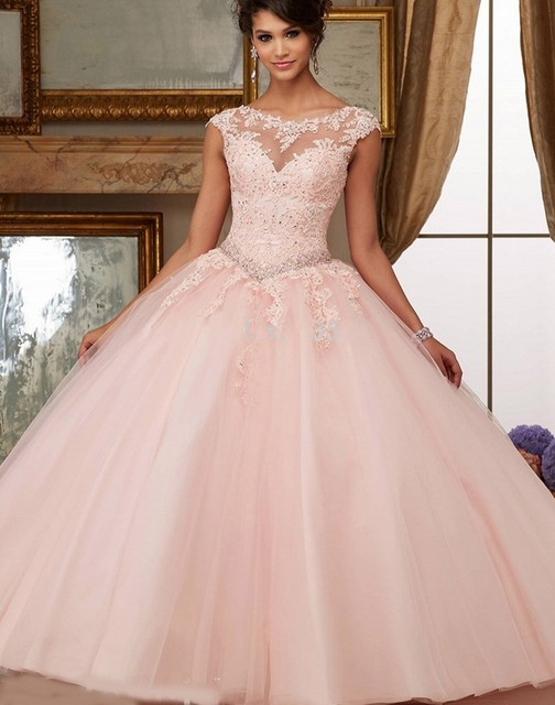 Cap Mangas 2016 Do Aqua Escarlate Blush Bola Lace Vestido de Baile Vestido de debutante Quinceanera Doce 16 vestido de festa