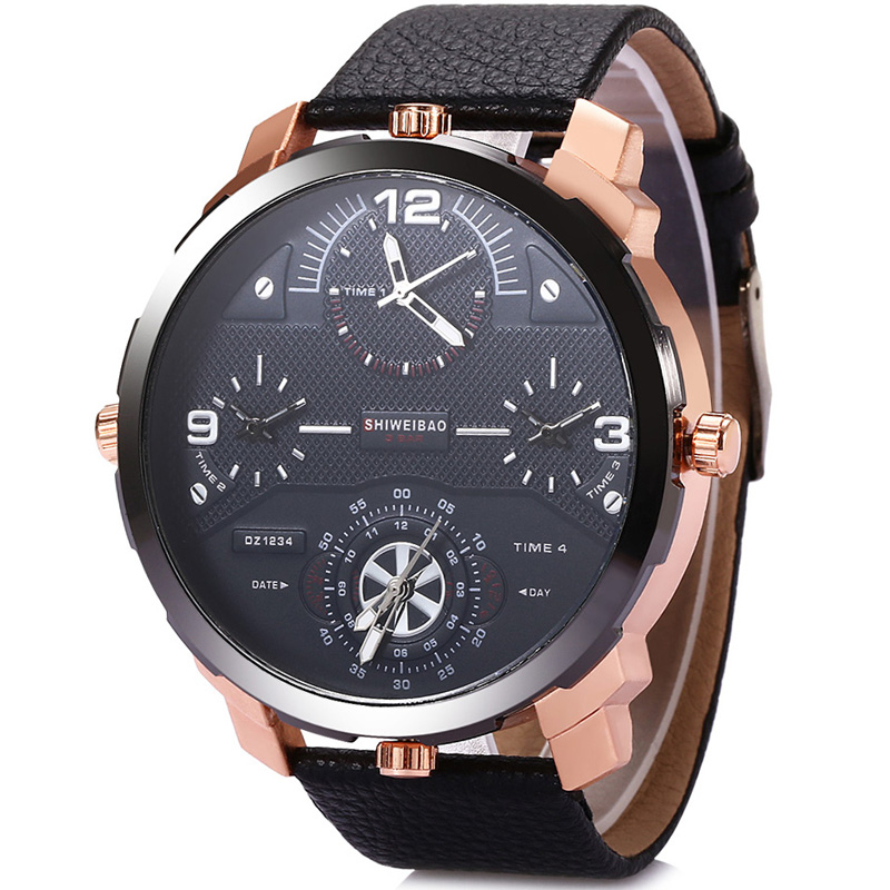 Shiweibao Watches Men Watch Luxury Brand Casual Quartz Wristwatches Four Time Zones Military Relogio Masculino Clock Male D3612A weide new men quartz casual watch army military sports watch waterproof back light men watches alarm clock multiple time zone