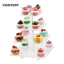 VONTERPsquare transparent 4 Tier Acrylic Cupcake Display Stand/acrylic cake stand with base Square(4.7 between 2 layers)