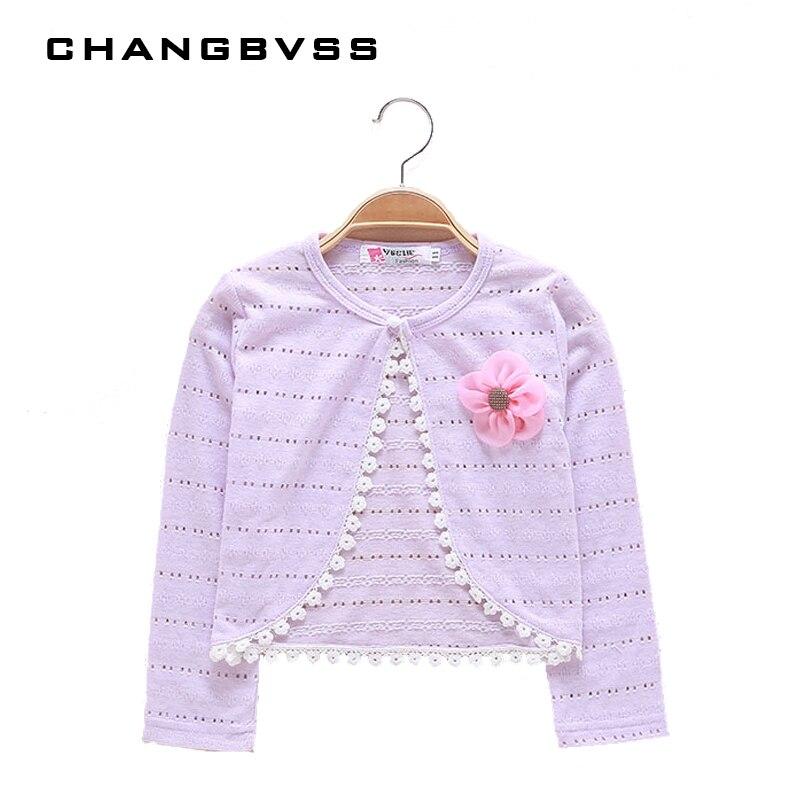все цены на Summer Thin Girls Coat Long Sleeve Girls Kids Cardigans Sweater Knitted Pattern Girls Clothing Solid Kids Outwear casacos онлайн
