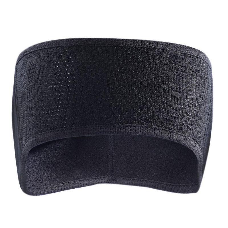 Black Unisex Women Men Ear Warmer Winter Head Band Fleece Ski Ear Muff Stretch Spandex Headband Hair Band Accessories 1PCS
