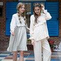 Outono Mulheres Sleepwear Pijama de Algodão de Linho Doce Princesa Rendas Ruffle Conjunto Sono de Manga Comprida Salão Real Feminino Pijama Macio