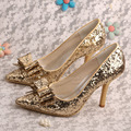 Wedopus Hot Selling Bowtie Women Party Shoes Gold Glitter Pointed Toe Heels