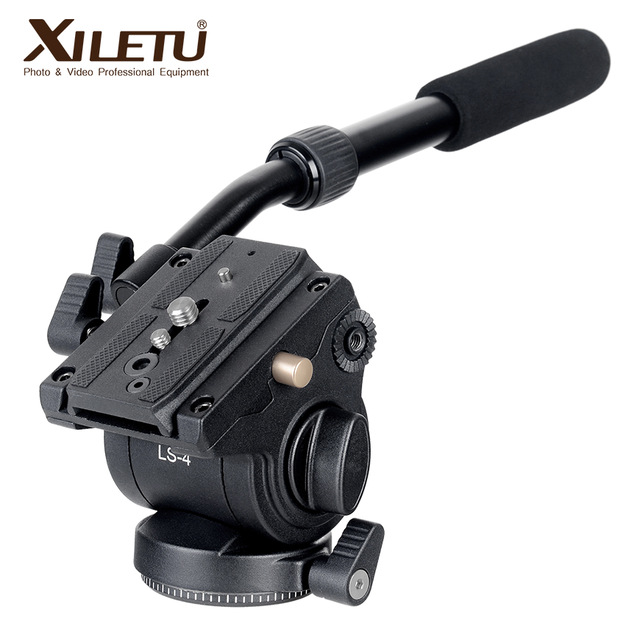 XILETU LS-4 Handgrip Video Photo Studio Kit Fluid Drag hidráulico trípode Head y placa de liberación rápida para ARCA-SWISS Manfrotto