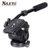 XILETU LS 4 Handgrip Video Photo Studio Kit Fluid Drag Hydraulic Tripod Head and Quick Release Plate For ARCA SWISS Manfrotto