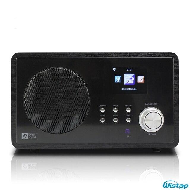 Wifi-радио интернет FM радиостанций 5 Вт RMS цветной экран адаптер источника питания часы и будильник деревянный корпус