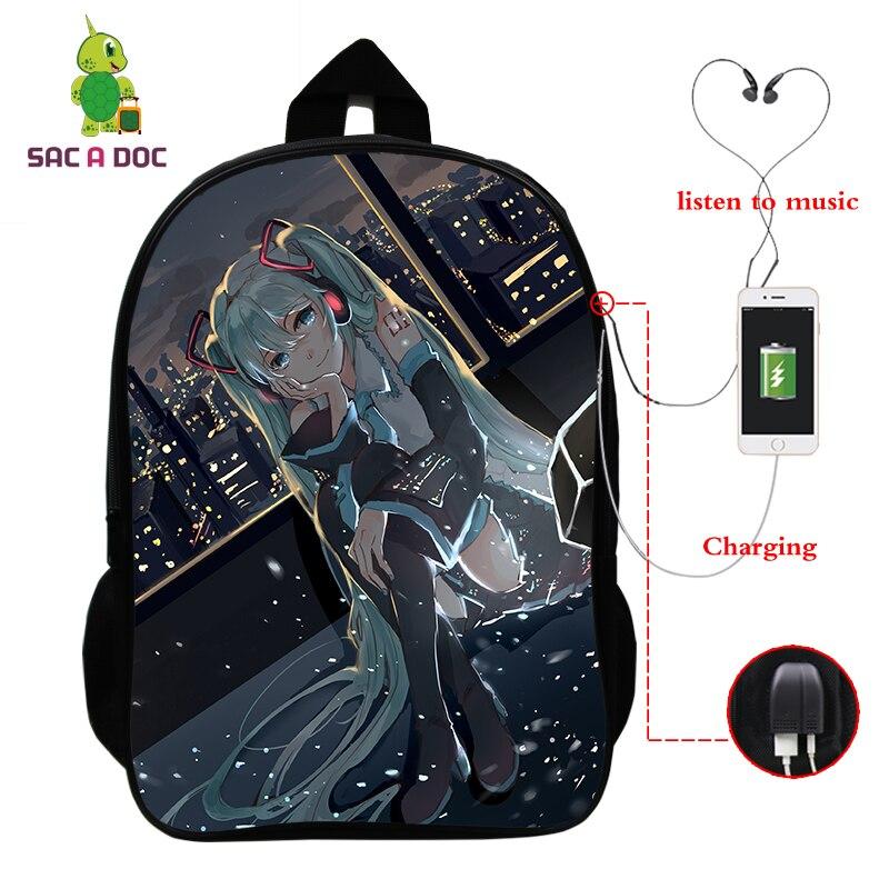Miku Hatsune Backpacks Hot Pattern School Bags Teenagers Backpack Girls Travel Bookbag Nylon 16 Inch Usb Charging Mochila Bag