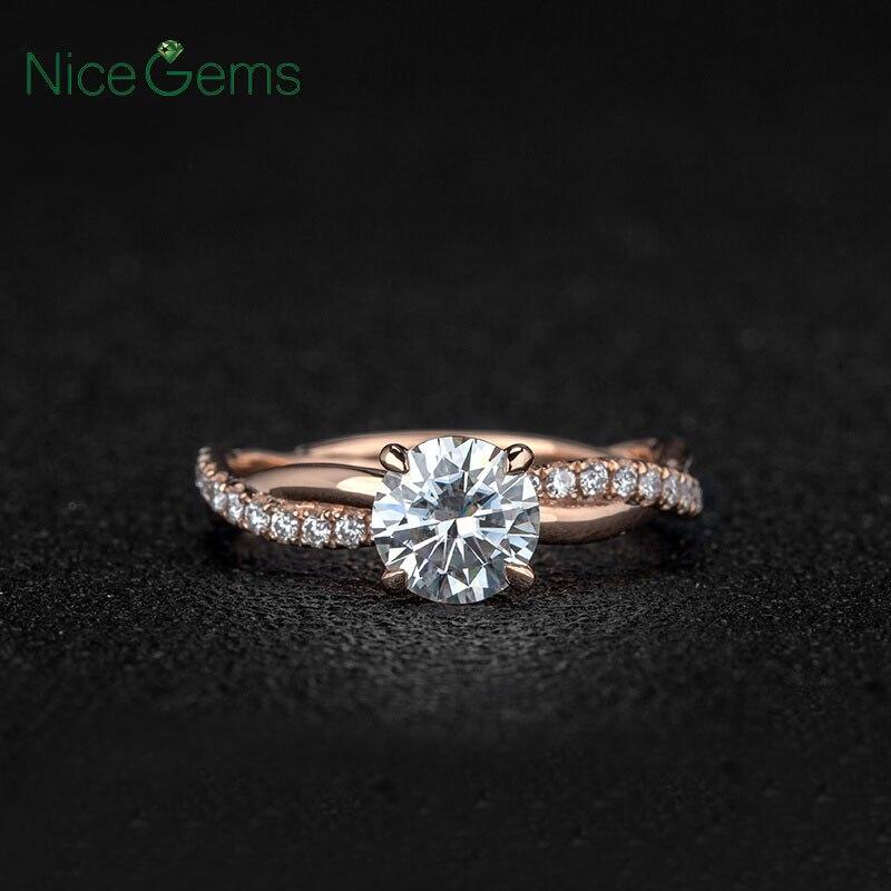 NiceGems 14k Rose Gold Moissanite แหวนหมั้นแหวน Center 2ct หรือ 1ct Moissanite Diamond แหวนสำเนียงผู้หญิงเครื่องประดับงานแต่งงาน-ใน ห่วง จาก อัญมณีและเครื่องประดับ บน   2