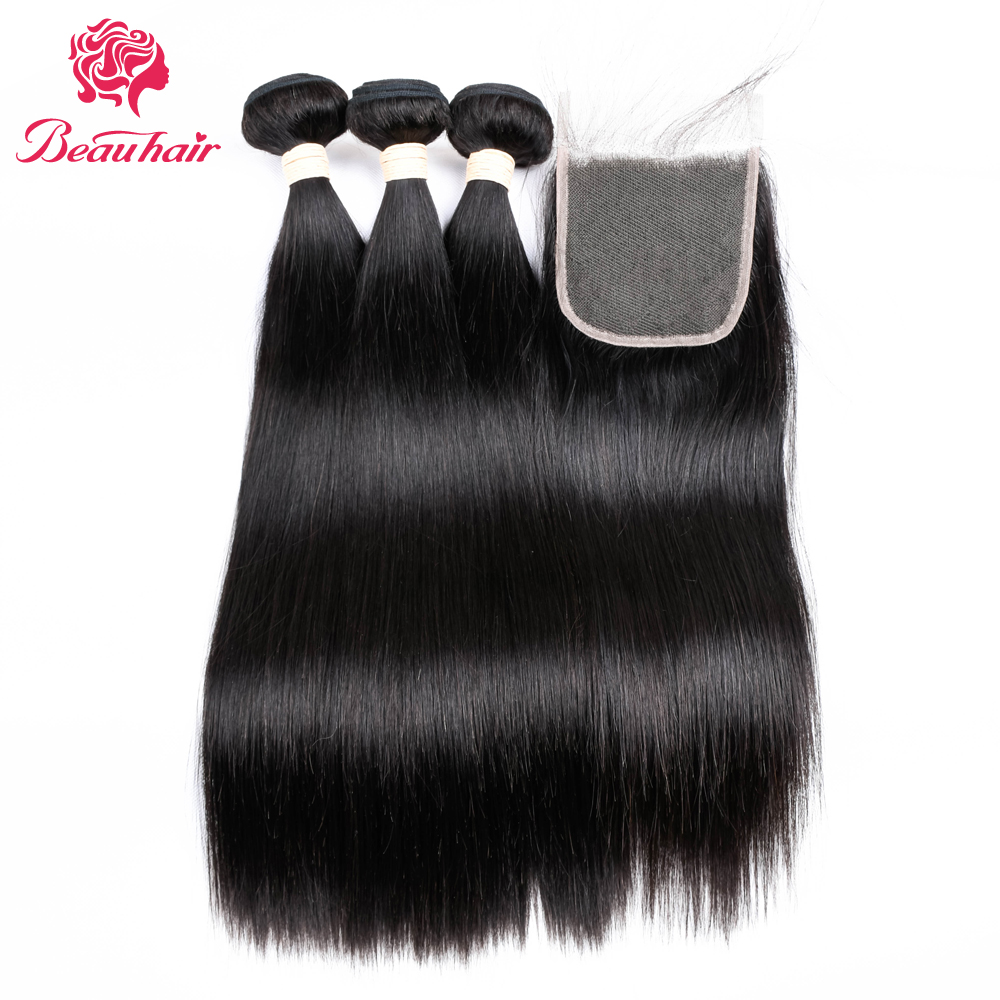 BeauHair Malaysia Hair 4Bundles with 4*4 Lace Closure Deals Straight Human Hair Weaving Bundles Natural Black Color Human Hair