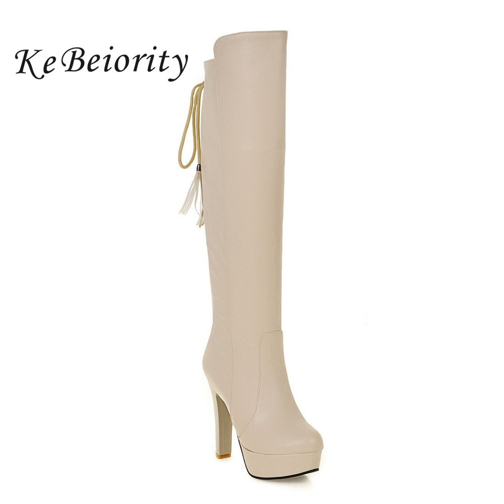 KEBEIORITY 2017 Fashion Women Knee High Boots Zipper Lace Up High Heels Platform Boots Leather Autumn Sexy White Black Boots