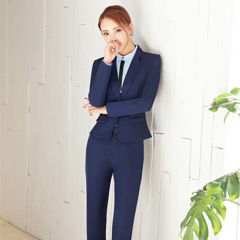 New Autumn and Winter Elegant Black Slim Formal Pantsuits With ...