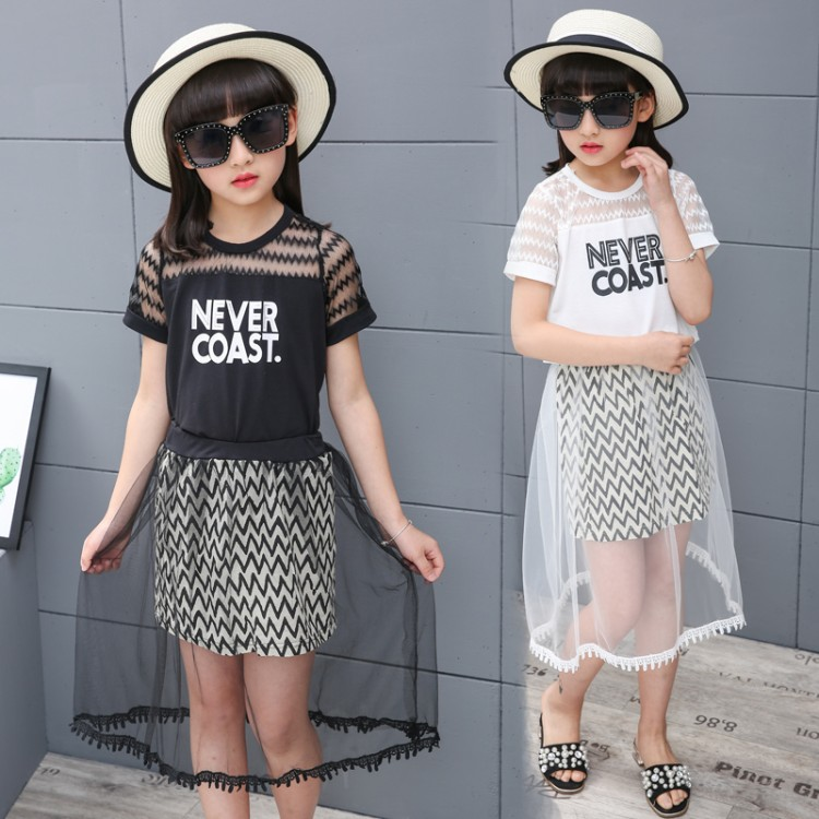 Girls Clothing Sets Summer 2018 Letter Printing T-shirts+Mesh Skirts Kids Children Clothes Casual Sport 2pcs Set Teenage Costume