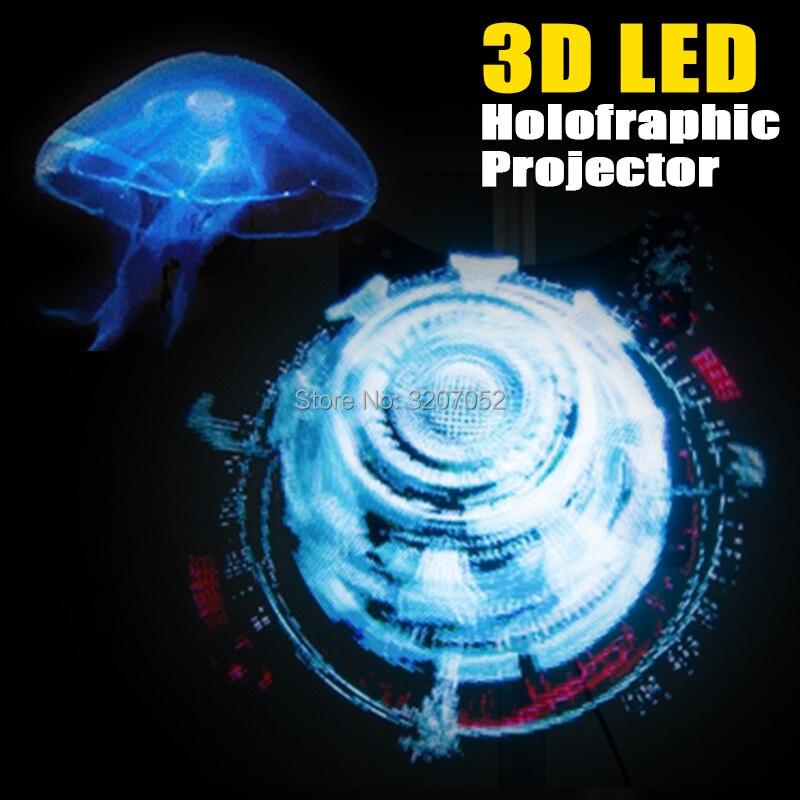 LED projecteur holographique Portable hologramme lecteur 3D holographique affichage ventilateur Unique hologramme projecteur