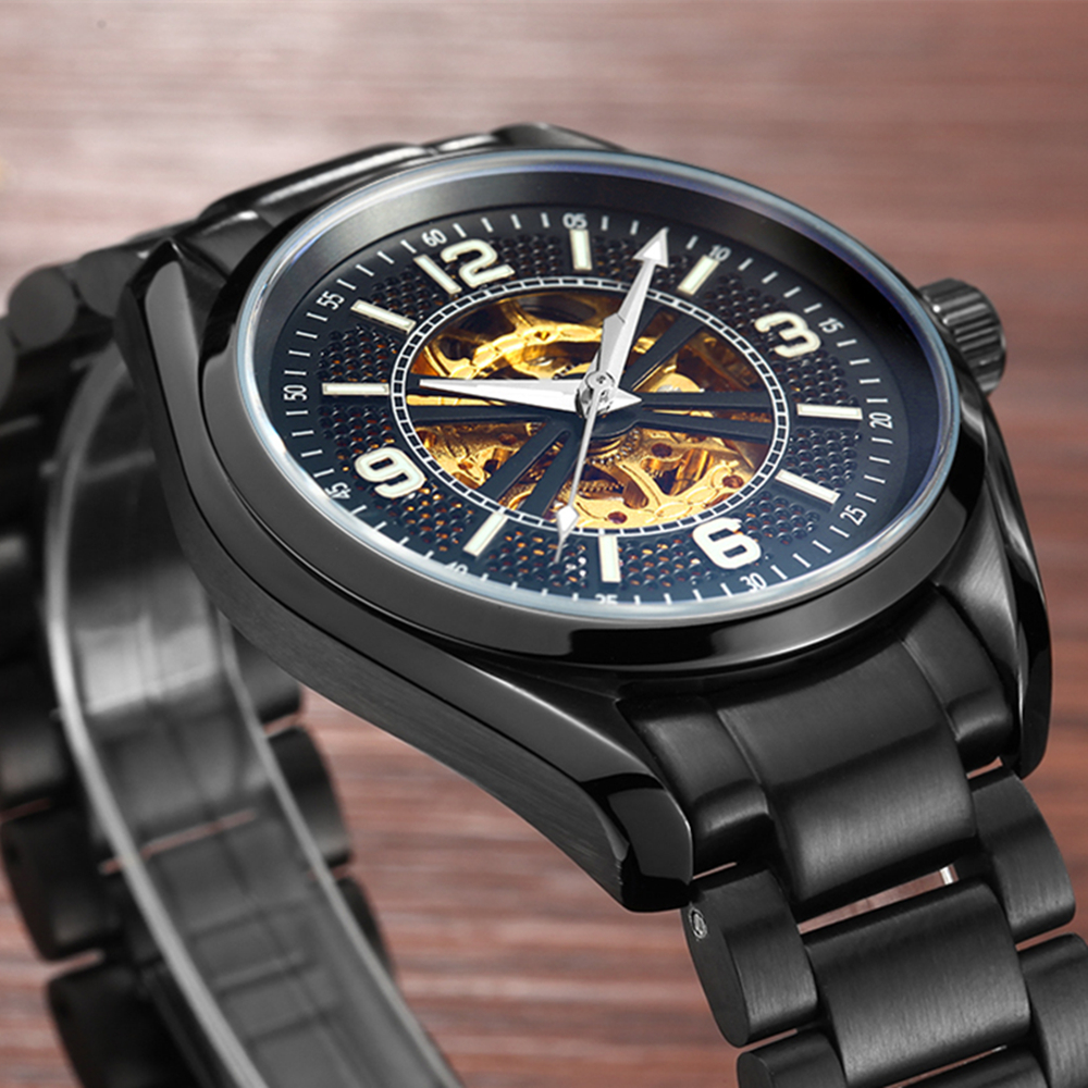 2017 Mens Brand LIGE Hollow Automatic Mechanical Watches Men Dive Sport Full Steel Watch Man Black Clock Business Wristwatches t winner automatic watch mens trendy mechanical auto windding silicone band wristwatches modern elegant analog hollow clock gift