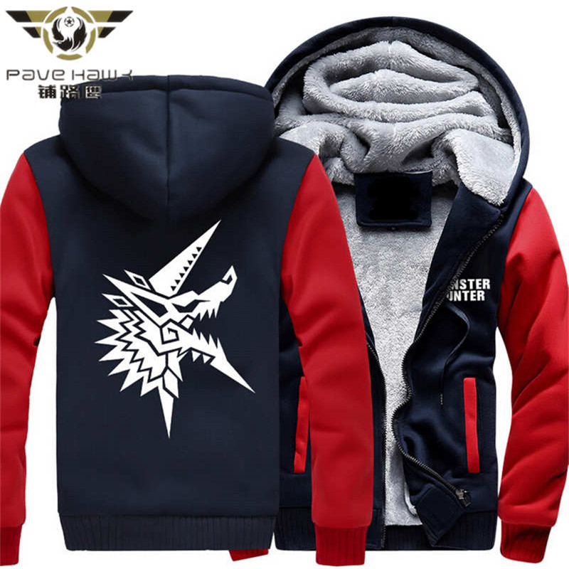 Dropshiping Hot New Monster Hunter 4 Zinogre Hoodie Logo Winter JiaRong Fleece Mens Sweatshirts Free Shipping